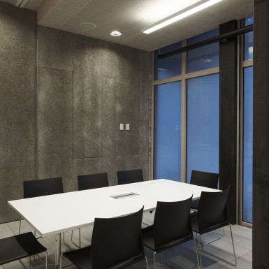 meeting room with high level of sound absorption